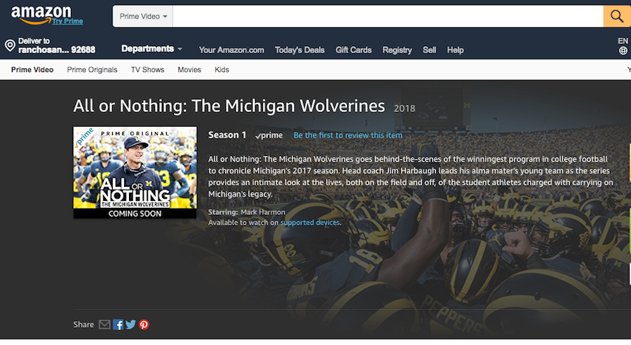 Amazon Prime to Bow More Sports Programming Under 'All or Nothing' Banner